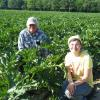 Dave and Michele in the green squash field.